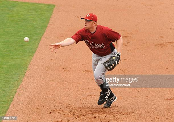 Infielder Chris Shelton of the Houston Astros starts a first base put out against the Philadelphia Phillies March 25 2010 at Bright House Field in...