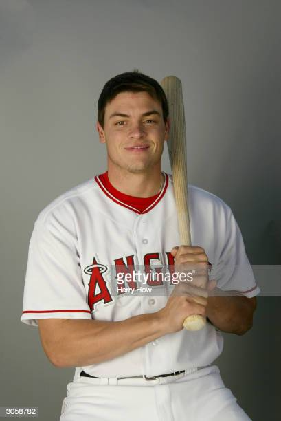 Infielder Dallas McPherson of the Anaheim Angels poses for a portrait during the 2004 MLB Spring Training Photo Day at Tempe Diablo Stadium on...