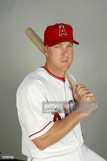 Infielder Darin Erstad of the Anaheim Angels poses for a portrait during the 2004 MLB Spring Training Photo Day at Tempe Diablo Stadium on February...