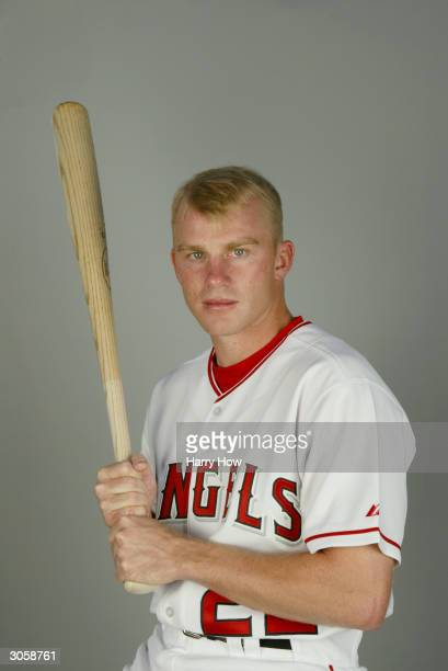 Infielder David Eckstein of the Anaheim Angels poses for a portrait during the 2004 MLB Spring Training Photo Day at Tempe Diablo Stadium on February...