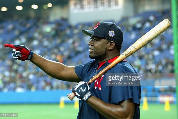 Infielder David Ortiz of the Boston Red Sox is seen during the 5th game of the exhibition series between US MLB and Japanese professional baseball at...