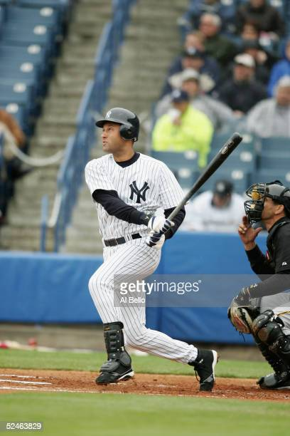 Infielder Derek Jeter of the New York Yankees swings at a Pittsburgh Pirates pitch during their Pre Season opening game on March 3, 2005 at Legends...
