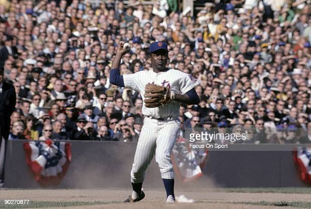 Infielder Ed Charles of the New York Mets makes a throw to first base against the Baltimore Orioles during a world series game circa October 1969 at...