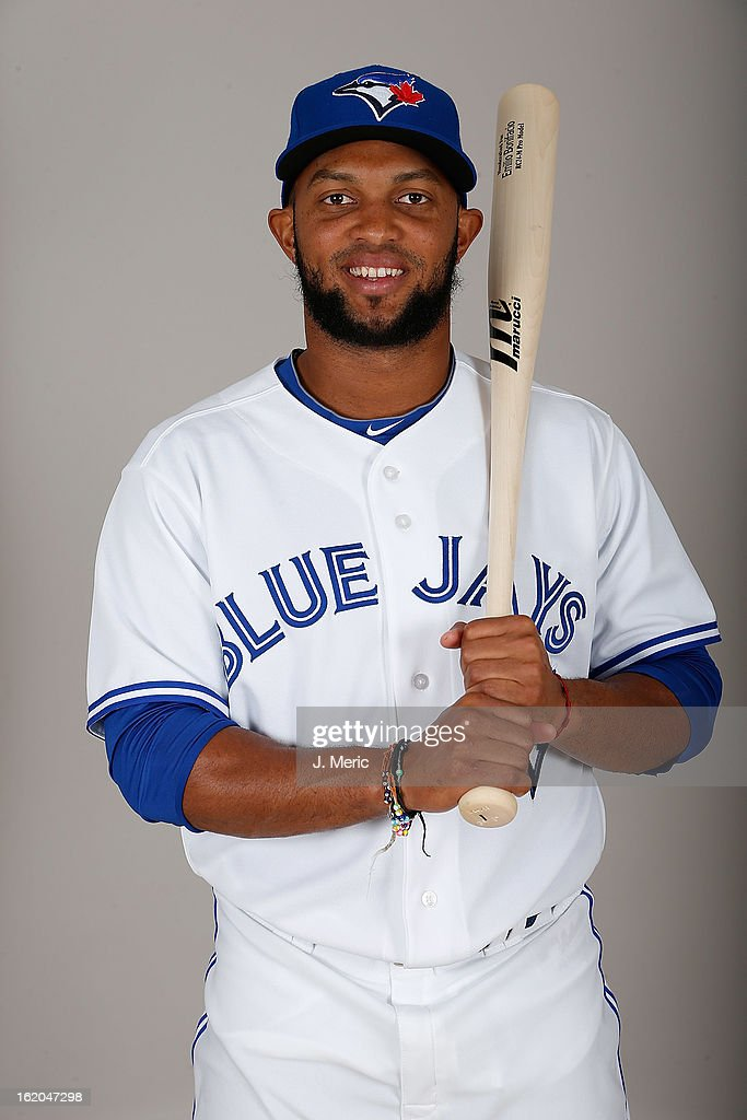 Infielder Emilio Bonifacio #1 of the Toronto Blue Jays poses for a photo during photo day at Florida Auto Exchange Stadium on February 18, 2013 in Dunedin, Florida.