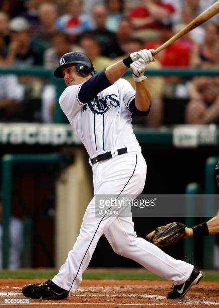 Infielder Evan Longoria of the Tampa Bay Rays fouls off a pitch against the Toronto Blue Jays during the game on April 23 2008 at Champions Stadium...