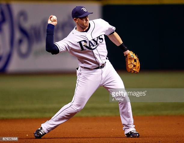 Infielder Evan Longoria of the Tampa Bay Rays throws to first for an out against the Minnesota Twins during the game on September 19 2008 at...