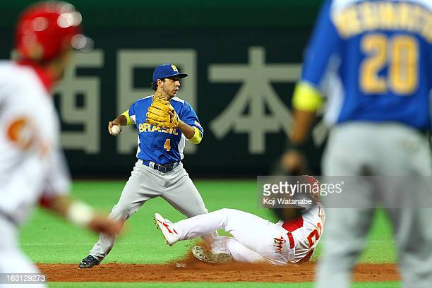 Infielder Felipe Burin#4 of Brazil in action during the World Baseball Classic First Round Group A game between China and Brazil at Fukuoka Yahoo...