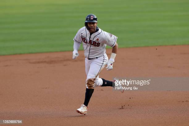 Infielder Fernandez Jose of Doosan Bears runs to the third base in the top of the first inning during the KBO League game between NC Dinos and Doosan...