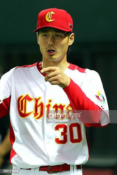 Infielder Fujia Chu of China in action during the World Baseball Classic First Round Group A game between China and Brazil at Fukuoka Yahoo Japan...