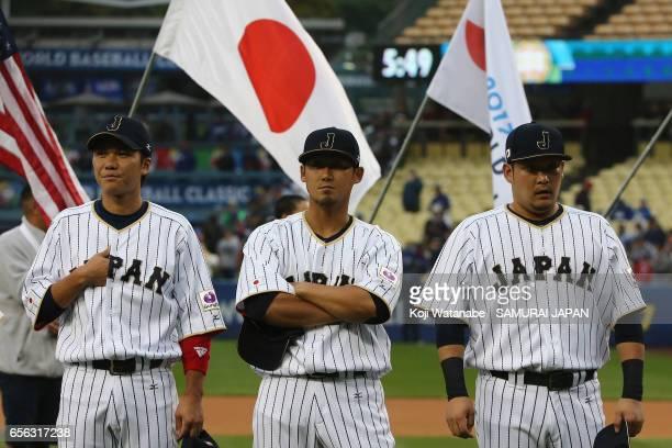 Infielder Hayato Sakamoto Infielder Sho Nakata and Outfielder Yoshitomo Tsutsugoh of Japan are seen prior to the World Baseball Classic Championship...