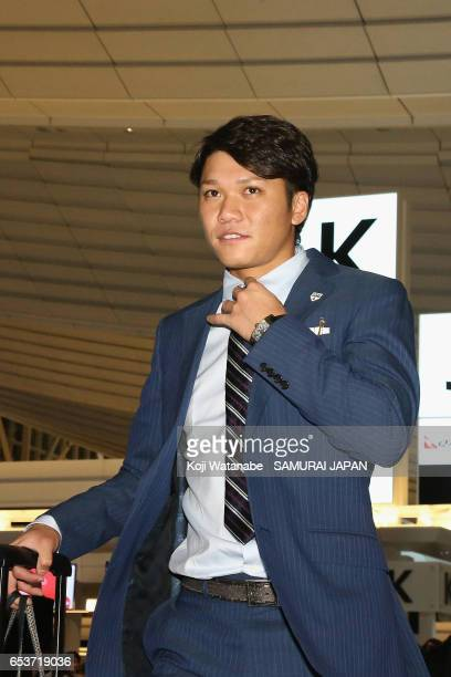 Infielder Hayato Sakamoto is seen on departure for the United States for the World Baseball Classic Championship Round at Haneda International...