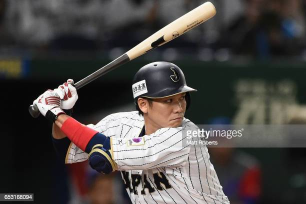 Infielder Hayato Sakamoto of Japan at bat in the bottom of the first inning during the World Baseball Classic Pool E Game Four between Cuba and Japan...
