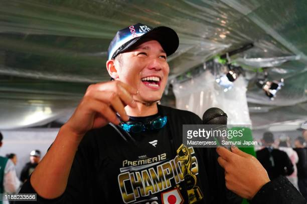 Infielder Hayato Sakamoto of Japan is interviewed after the WBSC Premier 12 final game between Japan and South Korea at the Tokyo Dome on November...
