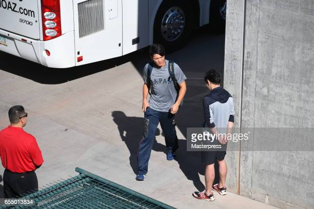Infielder Hayato Sakamoto of Japan is seen on arrival at the stadium prior to the exhibition game between Japan and Chicago Cubs at Sloan Park on...