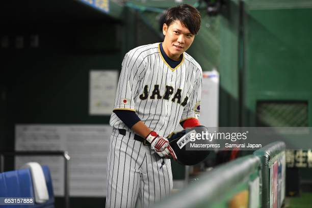 Infielder Hayato Sakamoto of Japan is seen prior to the World Baseball Classic Pool E Game Four between Cuba and Japan at the Tokyo Dome on March 14...