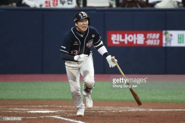 Infielder Heo Kyoung-Min of Doosan Bears ground out in the bottom of fourth inning during the Korean Series Game Two between Doosan Bears and NC...