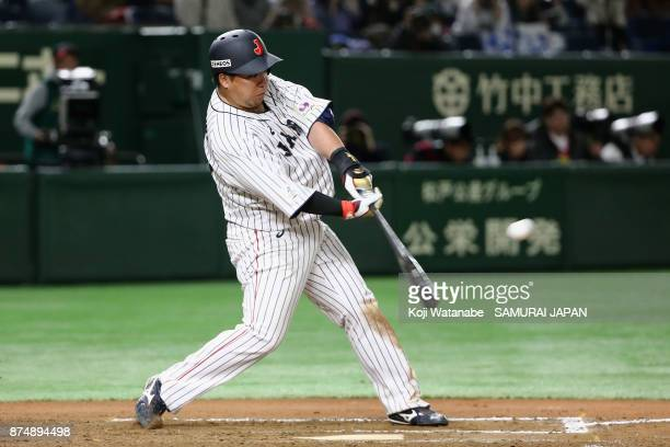 Infielder Hotaka Yamakawa of Japan hits a tworun in the bottom of sixth inning during the Eneos Asia Professional Baseball Championship 2017 game...
