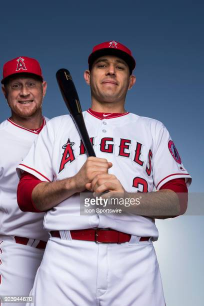 Infielder Ian Kinsler and Outfielder Kole Calhoun poses for a portrait during the Los Angeles Angels Photo Day on Feb 22 2018 at Tempe Diablo Stadium...