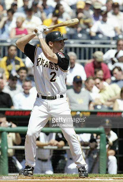 Infielder Jack Wilson of the Pittsburgh Pirates waits for the Houston Astros pitch during the MLB game at PNC Park on April 29 2004 in Pittsburgh...