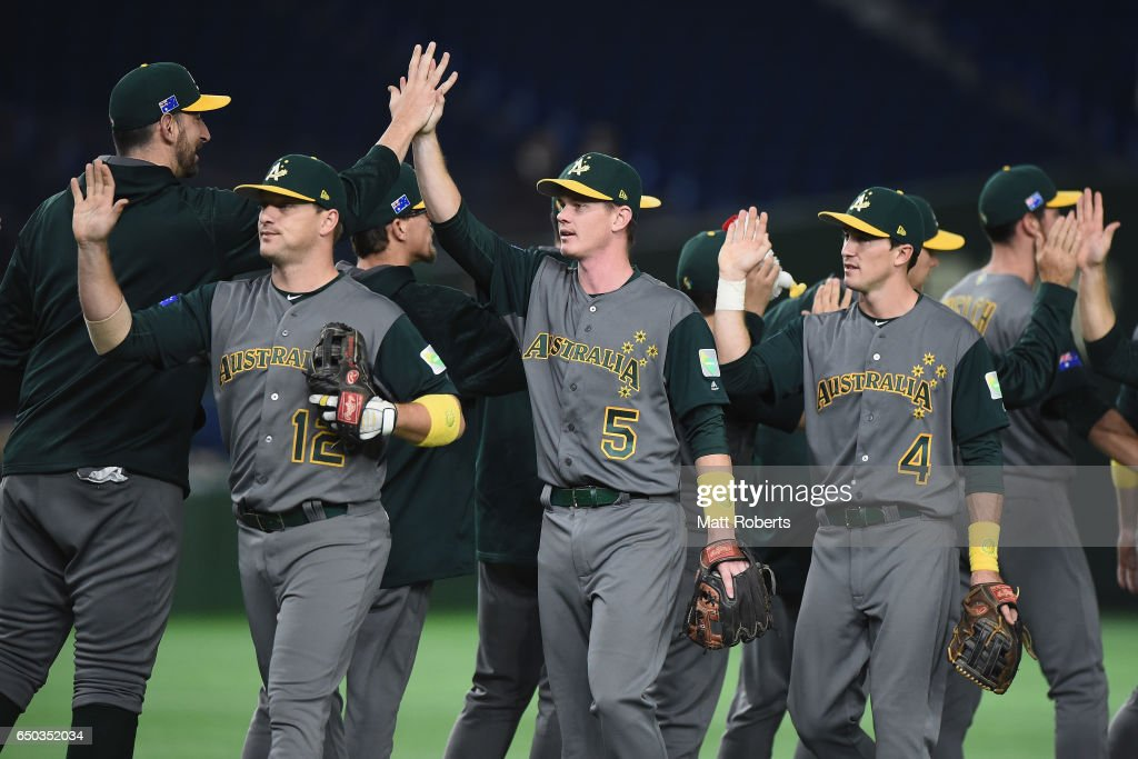 Infielder James Beresford #5 and Australian players celebrate their 11-0 win after the World Baseball Classic Pool B Game Four between Australia and China at the Tokyo Dome on March 9, 2017 in Tokyo, Japan.