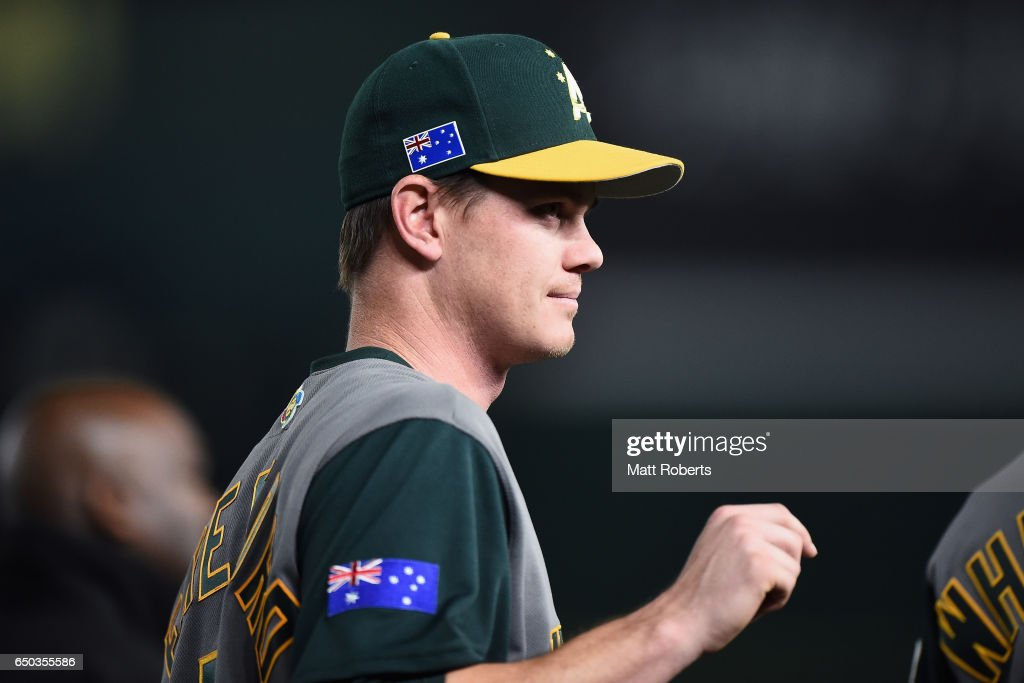 Infielder James Beresford #5 of Australia celebrates his team's 11-0 win in the World Baseball Classic Pool B Game Four between Australia and China at the Tokyo Dome on March 9, 2017 in Tokyo, Japan.