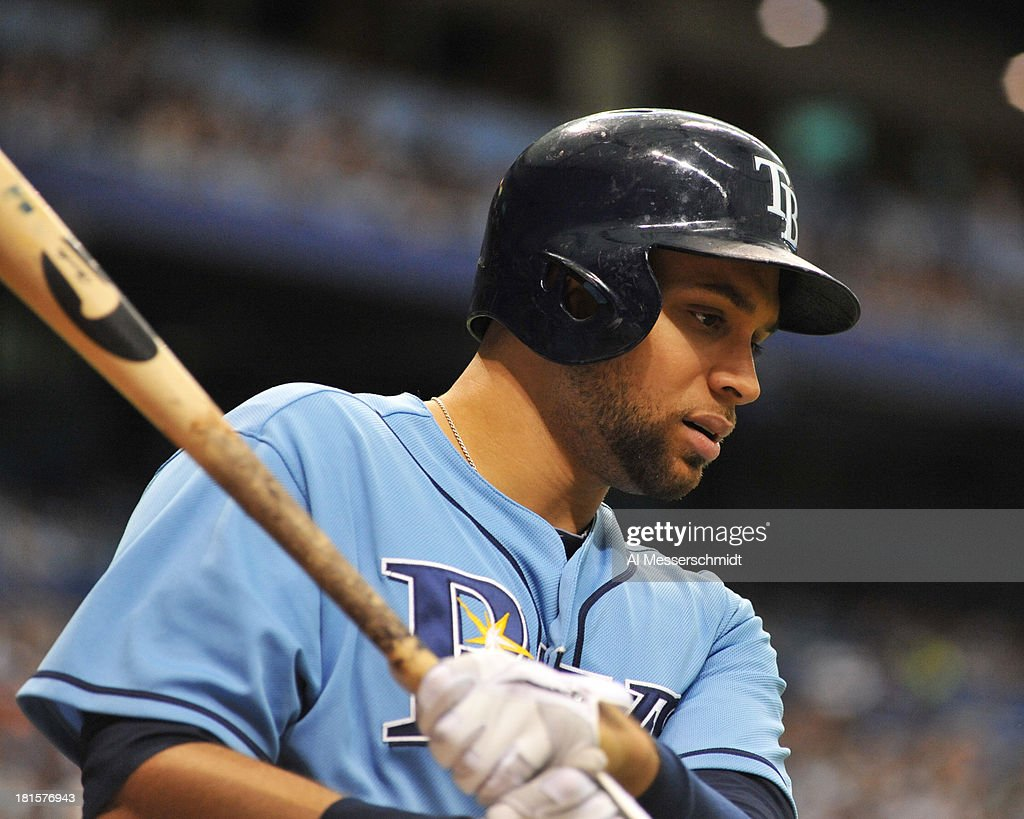 Infielder James Loney #21 of the Tampa Bay Rays sets to bat against the Baltimore Orioles September 22, 2013 at Tropicana Field in St. Petersburg, Florida. The Rays won 3 - 1.