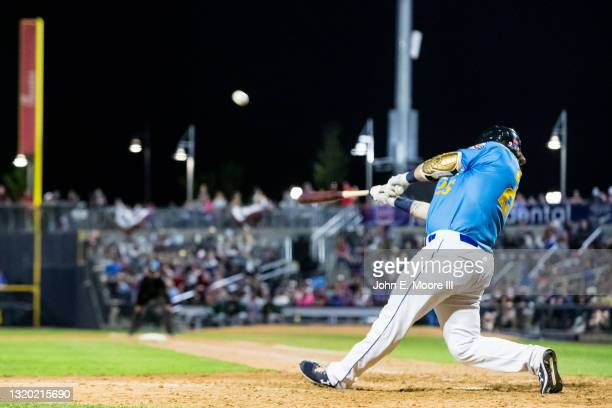 Infielder Jarett Rindfleisch of the Amarillo Sod Poodles hits the ball during the game against the Midland RockHounds at HODGETOWN Stadium on May 22,...