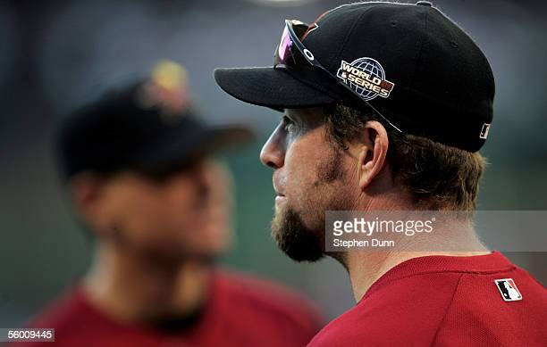 Infielder Jeff Bagwell of the Houston Astros warms up the field before the start of Game Three of the 2005 Major League Baseball World Series against...