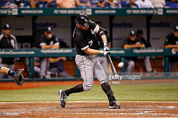 Infielder Jeff Keppinger of the Chicago White Sox flies out in the sixth inning against the Tampa Bay Rays at Tropicana Field on July 5 2013 in St...