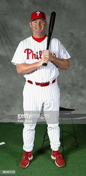 Infielder Jim Thome of the Philadelphia Phillies poses for portrait during media day at the Phillies Spring Training Complex on February 27 2004 in...