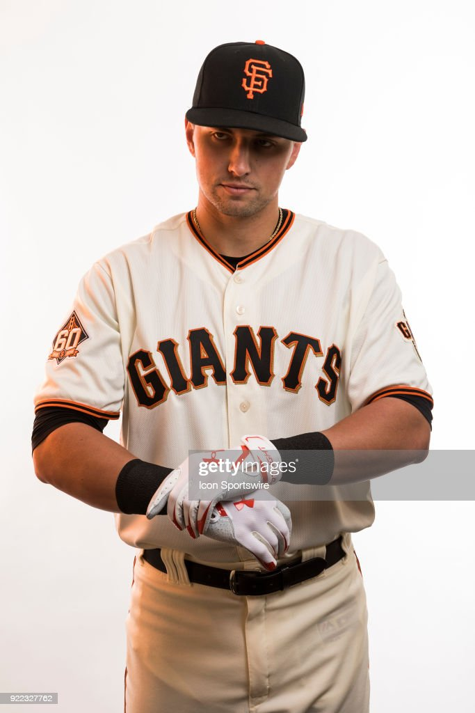 Infielder Joe Panik (12) poses for a photo during the San Francisco Giants photo day on Tuesday, Feb. 20, 2018 at Scottsdale Stadium in Scottsdale, Ariz.
