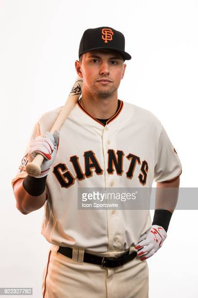 Infielder Joe Panik poses for a photo during the San Francisco Giants photo day on Tuesday Feb 20 2018 at Scottsdale Stadium in Scottsdale Ariz