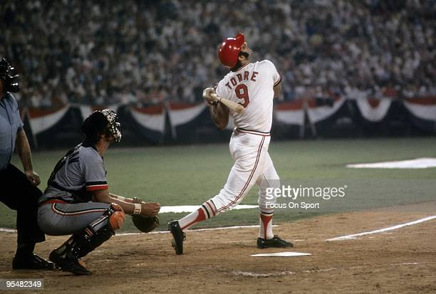 Infielder Joe Torre of the St Louis Cardinals in action swings and watches the flight of his ball against the American League Allstars during the...
