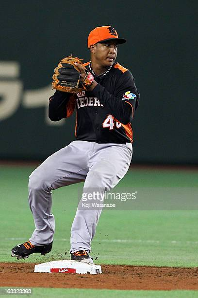 Infielder Jonathan Schoop of the Netherlands in action during the World Baseball Classic Second Round Pool 1 game between the Netherland and Cuba at...