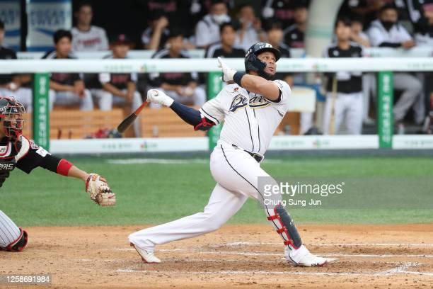 Infielder Jose Fernandez of Doosan Bears bats in the bottom of third inning during the KBO League game between LG Twins and Doosan Bears at the...