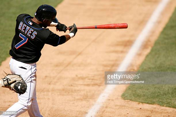 Infielder Jose Reyes of the New York Mets bats against the Florida Marlins at Shea Stadium on April 9 2006 in the Flushing neighborhood of the Queens...