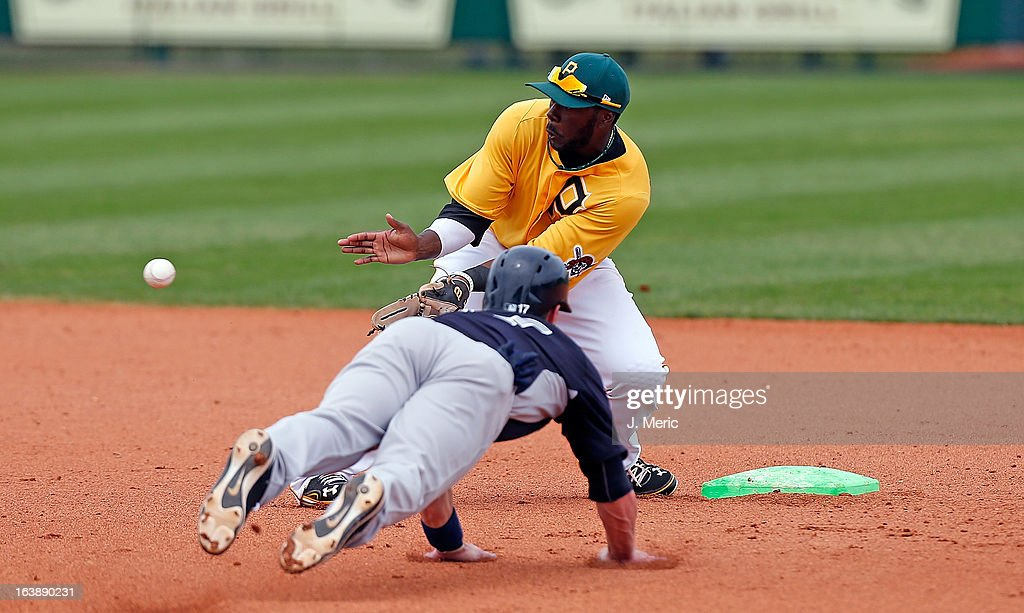 Infielder Josh Harrison #5 of the Pittsburgh Pirates takes the throw at second as infielder Jayson Nix #17 of the New York Yankees attempts to steal during a Grapefruit League Spring Training Game at McKechnie Field on March 17, 2013 in Bradenton, Florida.