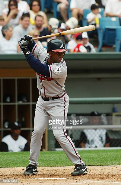 Infielder Julio Franco of the Atlanta Braves waits for a Chicago White Sox pitch during a game at US Cellular Field on June 13 2004 in Chicago...