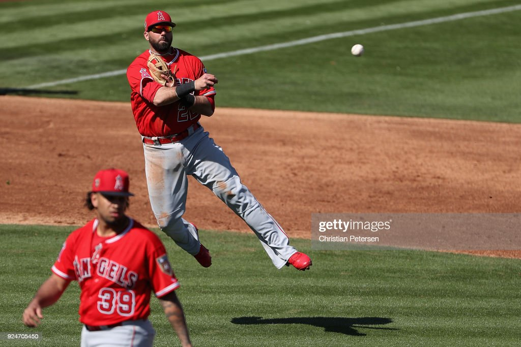 Infielder Kaleb Cowart #22 of the Los Angeles Angels fields a ground ball out against the San Diego Padres during the fourth inning of the spring training game at Peoria Stadium on February 26, 2018 in Peoria, Arizona.