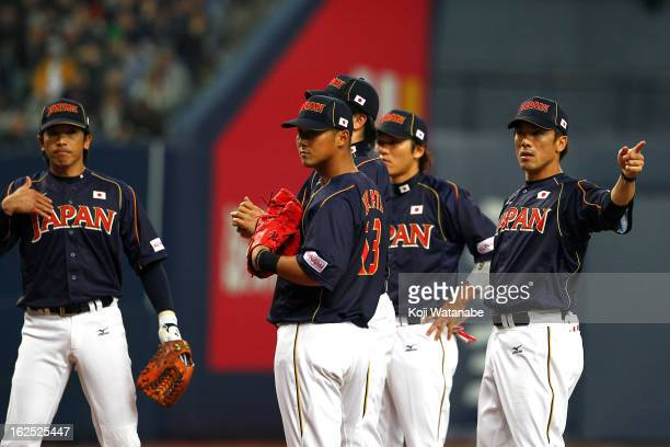 Infielder Kazuo Matsui and Outfielder Sho Nakata of Japan in action during the international friendly game between Australia and Japan at Kyocera...