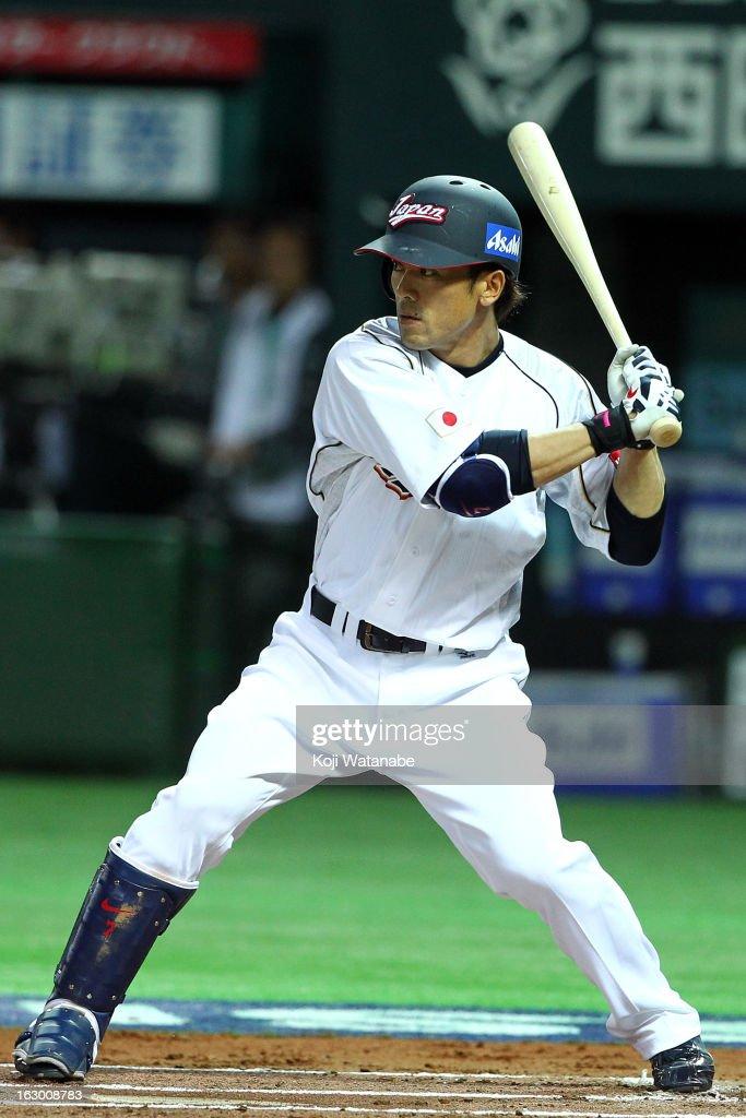 Infielder Kazuo Matsui #7 of Japan at bat during the World Baseball Classic First Round Group A game between Japan and China at Fukuoka Yahoo! Japan Dome on March 3, 2013 in Fukuoka, Japan.