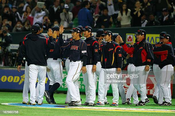 Infielder Kazuo Matsui of Japan celebrates the win after during the World Baseball Classic First Round Group A game between Brazil and Japan at...