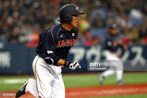 Infielder Kazuo Matsui#7of Japan onerun double in the top half of the sixth inning during the international friendly game between Australia and Japan...