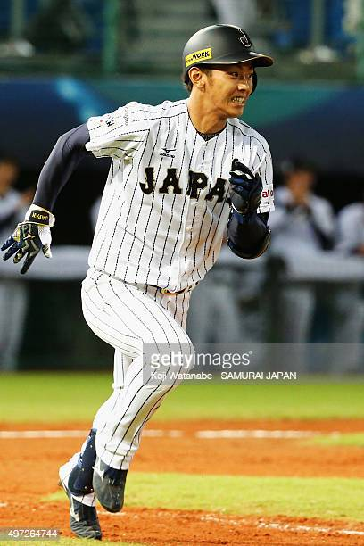 Infielder Kenta Imamiya of Japan hits a single in the bottom of ninth inning during the WBSC Premier 12 match between Venezuela and Japan at the...