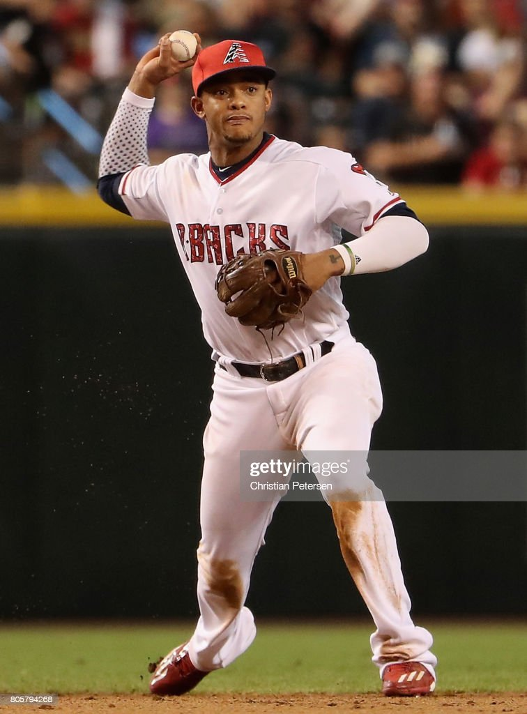 Infielder Ketel Marte #4 of the Arizona Diamondbacks fields a ground ball out against the Colorado Rockies during the eighth inning of the MLB game at Chase Field on July 2, 2017 in Phoenix, Arizona. The Diamondbacks defeated the Rockies 4-3.