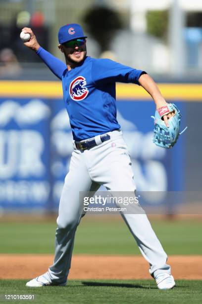 Infielder Kris Bryant of the Chicago Cubs in action during the MLB spring training game against the Seattle Mariners at Peoria Stadium on February...
