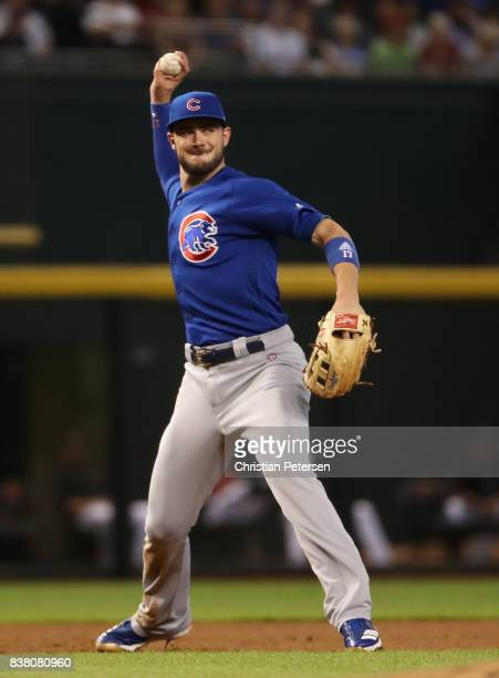 Infielder Kris Bryant of the Chicago Cubs in action during the MLB game against the Arizona Diamondbacks at Chase Field on August 13 2017 in Phoenix...