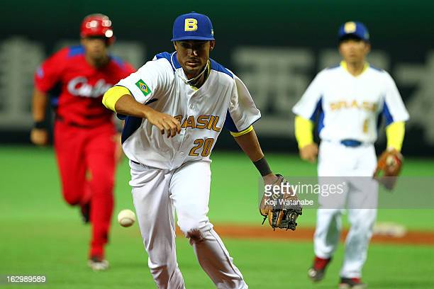 Infielder Leonardo Reginatto of Brazil in action during the World Baseball Classic First Round Group A game between Brazil and Cuba at Fukuoka Yahoo...