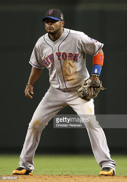 Infielder Luis Castillo of the New York Mets in action during the major league baseball game against the Arizona Diamondbacks at Chase Field on...