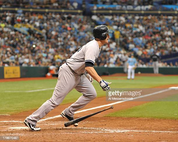 Infielder Lyle Overbay of the New York Yankees bats against the Tampa Bay Rays August 25 2013 at Tropicana Field in St Petersburg Florida The Yankees...